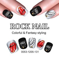 artificial rock cover - Rock Fake Nail Tips Rock Shining Artificial Nail Art Acrylic Short False French Nail Full Cover Tips With Free Glue