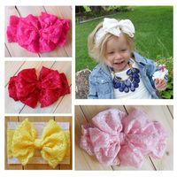 big bow hair wraps - 2015 Baby girl Lace Big Bow Headband Stretch Lace Bow Headbands for girls baby Vintage Head Wrap headdress kids Hair Accessories