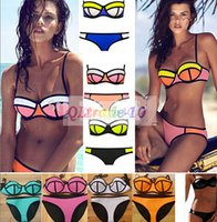 bikini - 18 colors New Bikini Swimsuit Bath Suit Women neoprene Bikini Sexy Triangle Push Up Bikini Fashion Women s Swimwear LJJD2158A sets