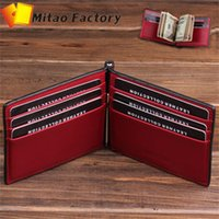 Wholesale 2015 New Favorite Italy Vegetal Cow Leather Men and Women Money Clip with Crad Holder Function Wallet