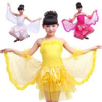 Wholesale Plastic Table And Chair Set The Girls Butterflies Dancing Costumes Children Dance Wear Wings Clothes Children s New Silk