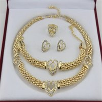 bead set engagement ring - 2016 hot sell heart women jewelry set bridal necklace bracelet earrings ring jewelry set nigerian wdding farican beads K gold plated