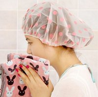 Wholesale Lovely Dots Thickened Waterproof Shower Cap Fashion Transparent Thick Shower Cap PEVA Healthy and Safe Shower Hat Piece