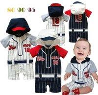Wholesale Infants baby bodysuit children s clothing Summer hooded short sleeve rompers baby baseball sport rompers for M boys and girls