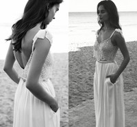 beaded halter neck wedding dresses - 2016 Summer Beach Lihi Hod Two Pieces Wedding Dresses V neck Spaghetti Straps Backless Hand Beaded Crystals Chiffon Bridal Gown with Pockets