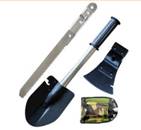 Wholesale Four Shovel Multi function Outdoor Camping Shovel Practical Garden Tools dhl freeshipping