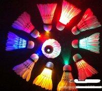 Wholesale 100pcs new LED Badminton Outdoor sports luminous badminton Material goose duck feather SMD lamps DHL