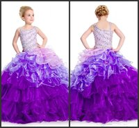 Girl kids prom dresses - 2015 New Purple Beads Layer Diagonal Sleeveless Floor Length Ball Gown Ombre Organza Zip up Back Long kids prom flower girl pageant dresses