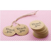 Wholesale 100PCS Eco friendly Thank You Paper Tag Kraft Paper Hang Tag with Jute Twine For Gifts Crafts Price Tags