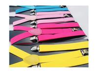 Wholesale 100pcs NEW Adult Adjustable solid Suspenders Woman Belts Straps Braces