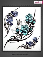 rose tattoos - temporary tattoo butterfly Blue Rose Art bridal makeup scar tattoo stickers waterproof women sexy high quality designs