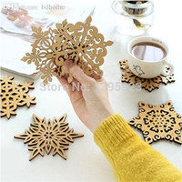 wooden coaster - 2015 New Chic XMAS Carved Wooden Snowflake Coffee Tea Drinks Mug Holder Cup Coaster Mat