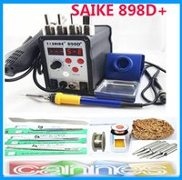 Cheap Free shipping New Product SAIKE 898D+ Upgraded from SAIKE 898D Hot Air Gun Solder Iron Desoldering Station Many Free Accessories