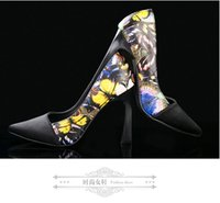 Wholesale 2016 Fashion Design Wedding Shoes Printed Flowers Handmade Cheap Bridesmaids Heels Pointed Toe Pub Party High Heels Sexy Brides High Heels