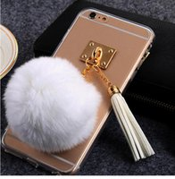apple stuffing - Stuffed toys fur ball Phone case with buckle tassels decoration cell phone cover soft TPU phone cover CM for iPhone PC145B