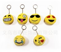 Keychains cotton Solar Keychains New Keychains 6cm Emoji Smiley Small pendant Emotion Yellow QQ Expression Stuffed Plush doll toy bag pendant for 2016 Christmas gift