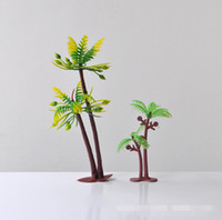Wholesale DHL Free Coconut tree ornaments sandbox model scenarios accessories suitable for Sand beach sand colored sand children beach toys