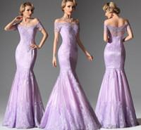 Wholesale Long Dresses Uk Online - Cheap Long Evening Dresses UK Online Sexy Off-the-Shoulder Short Sleeve Mermaid Floor Length Lace Applique Beads Tulle Formal Dresses
