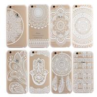 Henna Paisley floral blanco mandala flor de plástico duro volver cajas del teléfono celular para Samsung para iphone 6 6s 6plus