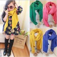 Wholesale 2015 AAA quality color long girl winter scarf handmade neckerchief knit scarf rabbit hair ball kids baby warm scarf collar topB1588