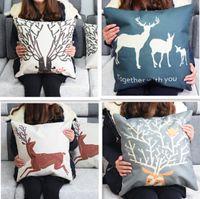 Wholesale Bird Deer Home Decorative Sofa Cushion Cover Throw Pillow Case Vintage Cotton Linen Square Cute Cartoon Pillowcase