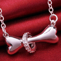 american hot dogs - Hot Paw silver necklace sterling silver fine dog bone Tag rolo chain inch Pendant necklace Doggie Puppy Pet EH181