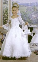 best halloween pictures - 2016 Best Selling white lace satin wedding bridal flower girl dress V Neck Floor Length Appliques beads Formal Gowns Girl s Pageant Dresses