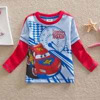 Cheap Thomas kids clothes boys tshirts mock two-piece baby boys shirts cartoon tops design of car long sleeves children's cotton clothing