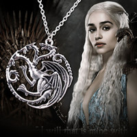 attractive games - Attractive Dragon Pendant Game of Thrones A Song of Ice and Fire Daenerys Targaryen Necklace Silver Chain Movie Jewelry Top Quality MS10148