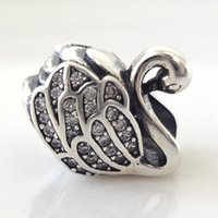 Wholesale High quality Sterling Silver Swan Charm with Clear CZ Stone Fits European Pandora Jewelry Bracelets Necklaces For Women