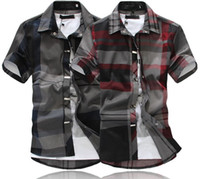 Wholesale New high quality men shirt slim fit short sleeve shirts men s dress chemise manche courte homme PLUG SIZE