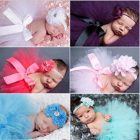 Wholesale Sweet Newborn Baby Tutu With Matching Vintage Style Flower Headband Stunning Newborn Photo Props Tutu Skirt