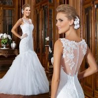 accents sleeve - 2016 Mermaid Wedding Dresses Bridal Spring Sheer Jewel Neckline Sleeveless Cathedral Wedding Gowns with Beaded Appliques Accent In Bodice