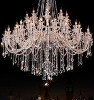 big candle chandelier - 45 lights Church Led candle chandelier Crystal lighting extra large Clear modern crystal chandelier hotel hall Big Led lustres de cristal