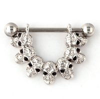crystal diamond skull - High Quality G Nipple Rings Jewelry Sexy Surgical Steel Skull Nipple Piercing Navel Ring Body Piercing Jewelry Men s Nipple Rings