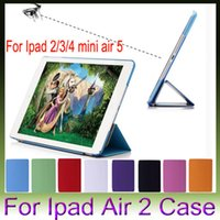 Wholesale PU Leather Magnetic Front Smart Cover cases Crystal Hard Back Case For iPad Air2 Air iPad Mini Mini4