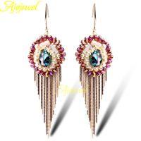 beaded earrings patterns - 010 new handmade gold plated fashion long tassel crystal earrings pattern beaded jewelry