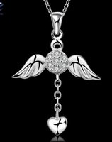 angels diamonds wing - Designer cz diamond fashion jewelry Angel wings heart love pendant necklace sterling silver chain Valentine s gift HJIA058
