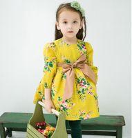 clothes plus - Plus Size Girls Dresses Cotton Fur Flower O Neck Bowknot Dress Winter Princess Girl Dressy Children Clothes Yellow Brown K2742