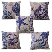Wholesale Blue Ocean Sea Cotton Linen Cushion Cover Home Decor Pillow Case Conch2 PTSP