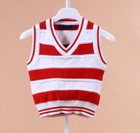 Wholesale 2015 new baby Sweater children vest for spring and fall sleevesless for T SCHOOL BOY AND GIRL STUDENTS CLOTHES V collar