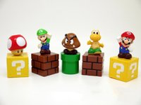 Wholesale Super Mario Bros set Mini Figures Bundle Blocks Mario Goomba Luigi Koopa Troopa Mushroom PVC Toys Doll By DHL A
