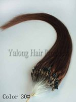 Wholesale 30 Jet In Brown red Hook loop Micro Bead Remy Human Hair Extensions S pack straight quot quot Best Price
