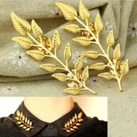 Wholesale Top quality Popular Double Leaf Collar Pin Brooch Creative Design Fashion Jewelry For Women