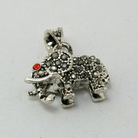 elephant charms - 25pcs New Fashion Antique Silver Alloy Dangle Elephant With Rhinestone x23mm Pendant Charm Fit European Jewelry DIY Findings DH BJI747