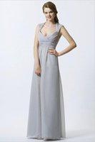 Cheap Beautiful New V-neckline Floor length A-line Elegant Chiffon Bridesmaid Dresses Bridal Dresses Solid Simple Dress For Ladies