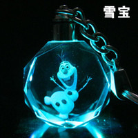 laser engraved crystal - Frozen Elsa Anna Olaf Led Light Crystal laser micro engraving Key Ring Colors Automatically change Key chain buckle