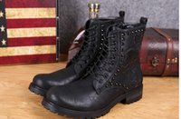 Wholesale Spring autumn new fashion genuine leather Man Martin boots skull lace up diamond design Men s casual Martin boots