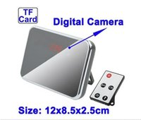 Wholesale HD1280 Spy Camera Digital Mirror Clock Style Hidden Camera DVR T1000 with Motion Detection Remote Control