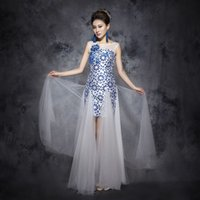 Wholesale In Stock Short Prom Dresses Party Evening Gowns Royal Blue Hollow Sequins Applique Sequins Pageant Gowns Sheath Sheer Tulle Plus Size